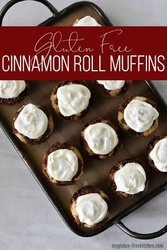 These yeast-free gluten-free cinnamon roll muffins are a sweet breakfast treat that is ready much quicker than cinnamon rolls would be. Best Gluten Free Recipes, Gluten Free Sweets, Gluten Free Muffins, Allergy Free Recipes, Gluten Free Cakes, Gluten Free Baking, Sweet Recipes, Gf Recipes, Cinnamon Roll Cupcakes