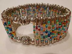 Safety pin bracelet by Millie's Girls Safety Pin Art, Safety Pin Crafts, Safety Pins, Safety Pin Bracelet, Safety Pin Jewelry, Beaded Jewelry, Handmade Jewelry, Beaded Bracelets, Jewellery