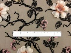 3D Flowers on Embroidered Tulle