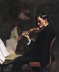 The Violin Student, Paris - Stephen Seymour Thomas 1891
