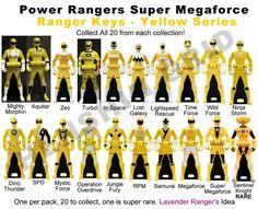 images of all the yellow power rangers keys | Power Ranger Keys Yellow Set - Proposal by LavenderRanger