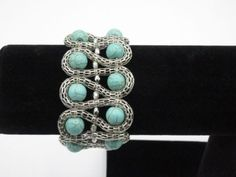 Use Lantern chain this way???Statement-Bracelet-Silver-Tone-Linked-Chain-Faux-Turquoise-Stone-Beaded-Stretchy