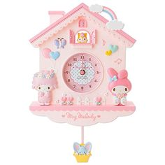 My Melody Sanrio wall pendulum clock house shaped kawaii decoration Japan My Melody Sanrio, Hello Kitty My Melody, Pendulum Wall Clock, Wall Clocks, Cute Furniture, Plywood Furniture, Modern Furniture, Furniture Design, Kawaii Bedroom