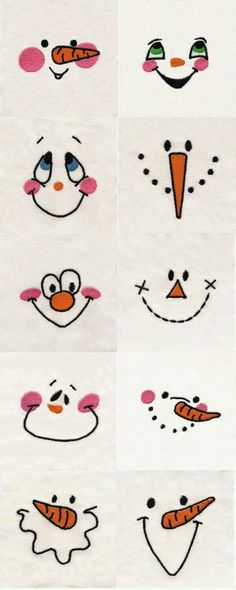 Use for Hand Embroidery snowman… Snowman Faces Embroidery Machine Design Details. Use for Hand Embroidery snowman, doll faces. Christmas Art, Christmas Projects, Christmas Holidays, Christmas Decorations, Christmas Paintings, Diy Snowman Decorations, Christmas Wood Crafts, Christmas Drawings For Kids, Snowmen Paintings