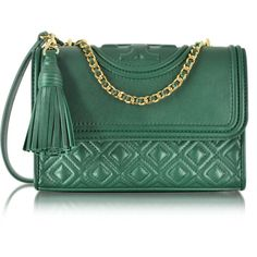 Tory Burch Fleming Small Convertible Leather Shoulder Bag ($450) ❤ liked on Polyvore featuring bags, handbags, shoulder bags, norwood, genuine leather handbags, green handbags, green leather handbag, green leather purse and leather shoulder handbags