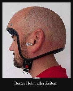 The modern man of today wears: a balding helmet - Funny Stuff - Motorrad Cool Motorcycle Helmets, Cool Motorcycles, Motorcycle Humor, Motorcycle Shop, Helmet Head, Dark Helmet, Skull Helmet, Safety Helmet, V Max