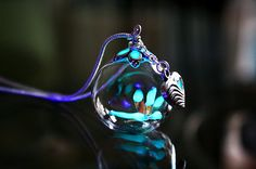 Tiny Dragonfly GLOW in the DARK in Glass bubble by Papillon9