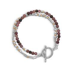 "7.5"" Two Tone Toggle Bracelet with Tourmaline Beads"