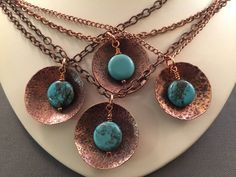 A personal favorite from my Etsy shop https://www.etsy.com/listing/466184946/copper-turquoise-hammered-disc-necklace