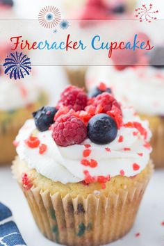 Firecracker Cupcakes - homemade funfetti cupcakes with a snap, crackle and pop finish. The perfect patriotic treat for all summer gatherings. via @cmpollak1 Firecracker Cupcakes, Baking Recipes, Cake Recipes, Most Pinned Recipes, Fourth Of July Food, July 4th, Coconut Cupcakes, Desert Recipes, Food Pictures