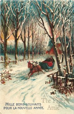 Couple in Sleigh Snow Scene Antique Vintage French Christmas Postcard #Christmas