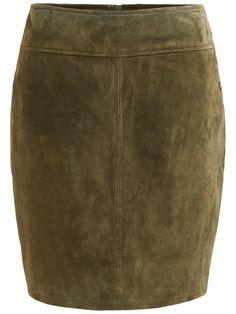 Modellnamn: VIMISS SUEDE SKIRT - Minikjol i mocka - Äkta skinn - Pennmodell - Blixtlåsstängning bak - Längd: 48 cm i storlek M