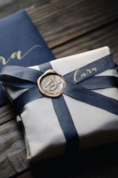 Wax seal and calligraphy ribbon.