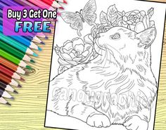 COUPON CODE: Use the coupon code BUY3ONEFREE to get your fourth coloring page free! CAT AND BUTTERFLY COLORING PAGE  This coloring page features an adorable cat with flowers and a butterfly. The page is 8x10 and perfect for framing.  TERMS OF USE These coloring pages are for personal use only. Do not sell the finished product. Do not distribute the coloring page to anyone else for coloring. However, you can have a coloring party and allow other people to share the page to color. Please do…