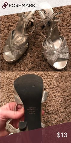 Silver Sparkly Heels Only worn once. Size 6 Shoes Heels