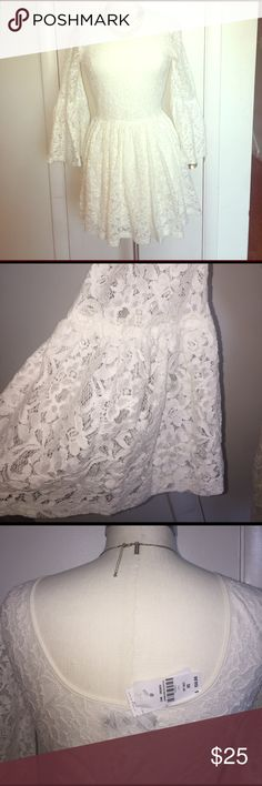 Romantic lace dress Super charming dress that has a little bit of the boho vibe and romanticism. It is a xs but could fit as a a. New with tags. It comes with circular boho sleeves. charm fashions  Dresses Long Sleeve