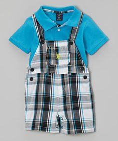 Turquoise Polo & Plaid Overalls - Infant