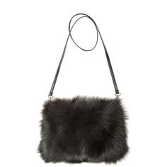 JOCELYN Fur Muff Crossbody Bag ($450) ❤ liked on Polyvore featuring bags, handbags, shoulder bags, black, crossbody handbags, fur handbag, black cross body purse, black crossbody handbag and evening handbags