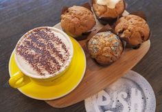 Time for a coffee break! Artisan muffins and a cappuccino Royce Hotel - dish Restaurant Melbourne Melbourne Accommodation, Hotel Meeting, Old World Charm, Coffee Break, Royce, Muffins, Artisan, Restaurant, Dishes