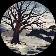 Beautiful stained glass winter scene. Seems like way too much detail in the tree for glass (too hard), but love it otherwise.