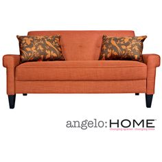 @Overstock.com - angelo:HOME Ennis California Vintage Orange Sofa - The angelo:HOME Ennis sofa was designed by Angelo Surmelis. The Ennis sofa has squared arms and is covered in a vintage orange linen-like twill texture.  http://www.overstock.com/Home-Garden/angelo-HOME-Ennis-California-Vintage-Orange-Sofa/8249135/product.html?CID=214117 $527.99