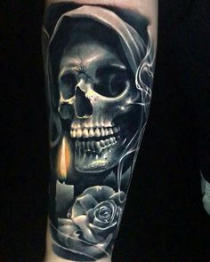 Our Website is the greatest collection of tattoos designs and artists. Find Inspirations for your next Skull Tattoo. Search for more Tattoos. Skull Rose Tattoos, Skull Sleeve Tattoos, Skeleton Tattoos, Body Art Tattoos, Dark Tattoo, Grey Tattoo, Tattoo Black And Grey, Big Tattoo, Skull Tattoo Design