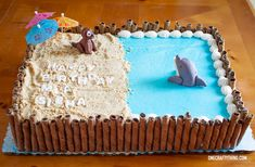 The Middle Party Way: A Dog and Dolphin Double Birthday Party Dolphin Birthday Cakes, Dolphin Birthday Parties, Double Birthday Parties, Dolphin Cakes, Dolphin Party, Beach Themed Cakes, Beach Cakes, Themed Cupcakes, Ocean Cakes