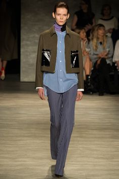 TOME FALL 2015 RTW- Layer a thin turtleneck under a button down shirt with boxy jacket, striped floor length trousers and stiletto heels