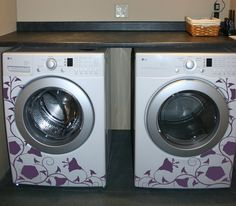 decals for the washer and dryer- We have this same washer and dryer in Silver - i cant wait to bling it out with my Cricut and some amazing vinyl cut outs!