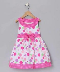 Take a look at this Pink Polka Dot Dress - Toddler & Girls by Longstreet on today! Cotton Frocks For Kids, Frocks For Girls, Kids Frocks, Toddler Girl Dresses, Toddler Outfits, Kids Outfits, Toddler Girls, Frock Patterns, Girl Dress Patterns