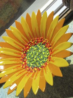 Stunning Large Fused Glass Sunflower Bowl. So bright and fun! Available at Prairie Glass Studio in Topeka, KS.