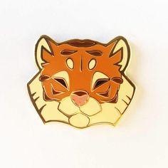 Angular Tiger Head Gold Metal Hard Enamel Pin by ShinePaw on Etsy
