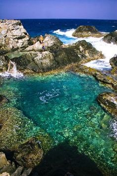 Even though we're in the thick of fall, we can't stop dreaming about a warm, tropical vacation. This natural pool in Aruba would be gorgeous to swim in. Vacation Destinations, Dream Vacations, Vacation Spots, Oh The Places You'll Go, Places To Travel, Places To Visit, Photos Voyages, Adventure Is Out There, Strand
