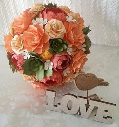 Paper Flower Bouquet - Wedding Bouquet - Shades of Peach and Coral with Succulents - Made to Order - Any Color Combo