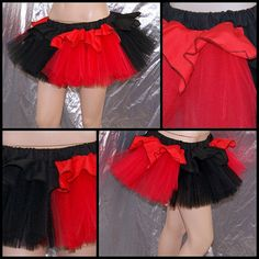 Red Black Harley Quinn Ruffle Striped Tulle TuTu Skirt adult all Sizes MTCoffinz