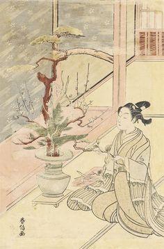 Suzuki Harunobu (1725?–1770) -   A woman practicing ikebana [flower arranging] in an interior using branches of pine and plum