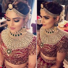 Such beautiful bridal makeup--perfect mix. Not too natural and subtle but not too dramatic Indian Bridal Makeup, Natural Wedding Makeup, Indian Wedding Jewelry, Indian Bridal Wear, Indian Wedding Outfits, Bridal Outfits, Indian Outfits, Bridal Dresses, Indian Bride Hair