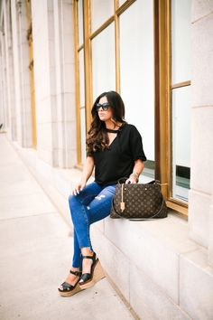 May 18, 2017 The $35 Everyday Casual Top - TOP: Socialite | DENIM: AG Jeans | WEDGES: Steve Madden | SUNGLASSES: Tom Ford | HANDBAG: Louis Vuitton [Montaigne GM] | BRACELETS: The Styled Collection, David Yurman