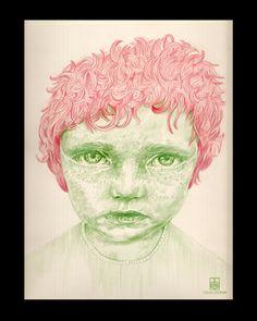 Ilustración con lápices de color.