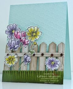Cheerful card made with Bloom with Hope and Hardwood stamp sets from Stampin Up by Kathleen Wingerson   www.kathleenstamps.com