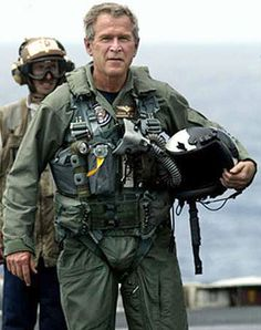 President George W. Bush this picture was taken shortly before he went AWOL while snorting coke. just joking.