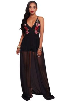 8ec88a347629 Black Floral Embroidery Romper with Maxi Mesh