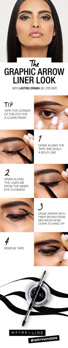Four simple steps, one liner, plenty of attitude. The eye makeup tutorial show you how to get a bold liner look.Check out the Maybelline Liner Gallery on maybelline.com for a step-by-step video tutorial on this Graphic Arrow look and so much more. Unleash your power liner game with our insider tips, tricks and hacks. Go on, the time has come to discover, learn & create.