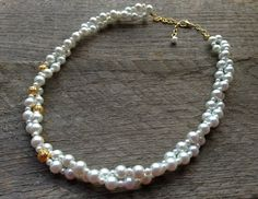 SPRING SALE White Pearl Necklace Twisted Clusters with Gold or Silver Accent and Chain by haileyallendesigns