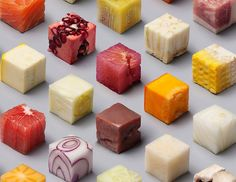 Artists Cut Raw Foods Into Perfect Cubes Resulting in These Incredibly Satisfying Photos - BlazePress Satisfying Photos, Oddly Satisfying, Raw Tuna, Unprocessed Food, Dessert, Creative People, Perfect Food, Food Design, Design Art