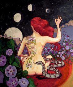 """""""Una mujer que toma conciencia de su ciclo y las energías inherentes a él también aprende a percibir un nivel de vida que va más allá de lo visible; mantiene un vínculo intuitivo con las energías de la vida, el nacimiento y la muerte, y siente la divinidad dentro de la tierra y de sí misma. La mujer se relaciona con lo visible y terrenal y con los aspectos invisibles y espirituales de su existencia."""" Luna Roja, los dones del ciclo menstrual. Miranda Gray."""
