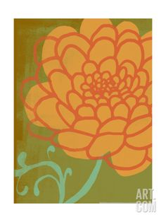 Floral Citron Green and Apricot Premium Poster at Art.com