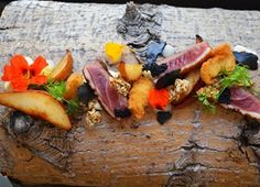 Pan Roasted Duck Breast with Fermented Pear, Pear and Parsnip Puree, Charcoal Meringue, Savoury Granola and Parmesan Gel Roasted Duck Breast, Dried Raisins, Parsnip Puree, Roast Duck, Russet Potatoes, Roasting Pan, Chef Recipes, Sun Dried, Tray Bakes