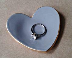 Ceramic Ring Dish gray edged in gold