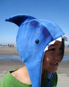 Shark Hat fleece child sized animal hat beach by MoonStoneDesigns, $27.00
